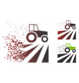 disappearing pixel halftone tractor dust field vector image vector image