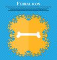 Dog bone icon Floral flat design on a blue vector image