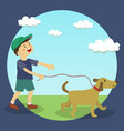 dog walking boy vector image vector image