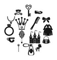 doll princess items icons set simple style vector image vector image