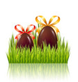 easter big hunt with chocolate eggs with bow and vector image