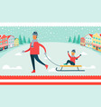father and son on sled winter vector image vector image