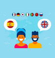friends from spain and england social media chat vector image vector image