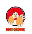 funny rooster logo vector image vector image