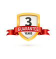 guarantee 3 years isolated label on white vector image
