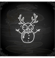 Hand Drawn Snowman with Antlers vector image