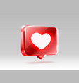 heart like icon sign follower 3d banner love vector image vector image