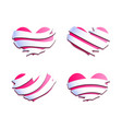 hearts with ribbon banners blend vector image