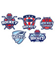 hockey badge design set vector image
