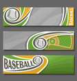 horizontal banners for baseball vector image vector image