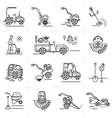 Line icons art agriculture agricultural machinery vector image vector image