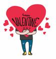man hugging big heart happy valentines day cartoon vector image vector image
