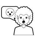 man with surprised emoticon in speech bubble vector image vector image