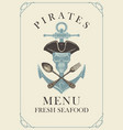 menu with pirate skull anchor spoon and fork vector image vector image