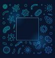 microbiology outline blue frame concept vector image