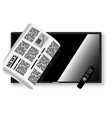 modern tv and folded newspaper on its background vector image