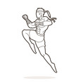 muay thai fighting thai boxing jumping to attack vector image vector image
