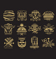 old barbershop emblems and labels vector image vector image