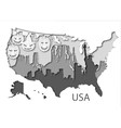 Paper map of USA with different leyers vector image vector image