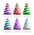 party hat set realistic festive birthday vector image vector image