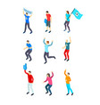 People fans football 3d icon set isometric view