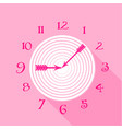 pink wall clock icon flat style vector image vector image