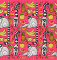 seamless pattern with cute cartoon lemur tropical vector image vector image