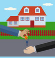 seller giving key house to buyer vector image vector image