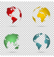 set 3d earth globe on isolated background vector image vector image