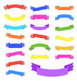 set of 21 flat color isolated ribbon banner