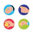 set of hands with coins isolated icon vector image vector image