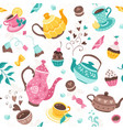 teapots and cups pattern vector image
