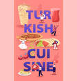 turkish cuisine concept tiny male and female vector image vector image