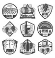 vintage monochrome wine labels set vector image