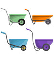 wheelbarrow icon set cartoon style vector image vector image