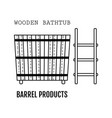 wooden bathtub bucket made from wood flat icon vector image