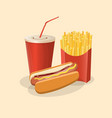 hot dog with french fries and soda cup - cute vector image