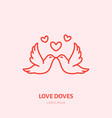 kissing doves two flying birds in vector image