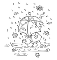 cute kid with umbrella in vector image