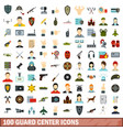 100 guard center icons set flat style vector image