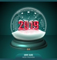 2019 snow globe on green background merry vector image
