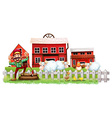 A farmer in front of the barnhouses vector image vector image
