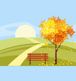 autumn landscape tree with fallen leaves wooden vector image