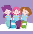 back to school students girls with books vector image vector image