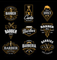 barber shop retro emblems vector image vector image