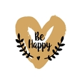 Be Happy Valentine on golden heart vector image vector image