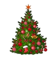 Beautifully decorated Christmas tree isolated on vector image vector image