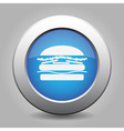 blue metal button with hamburger vector image vector image