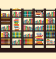 books in library flat design vector image vector image
