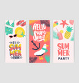 bundle of creative flyer templates for summer vector image vector image